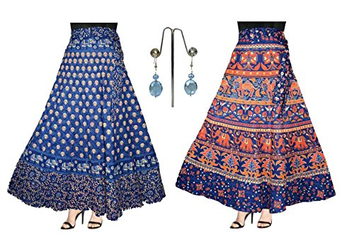 Eshopitude Women\'s Cotton Wrap Around Skirt with Earrings(ESH06, Blue, Free Size) - 3-piece Combo