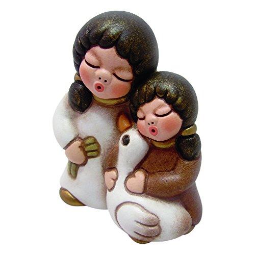 Thun coppia di bimbi con oca presepe classico, ceramica, variopinto