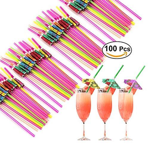 (Middletone 100 Stück Flamingo und Regenschirm Strohhalmen Party Geburtstag Kunststoff Cocktailschirmchen Hawaii Party Deko)
