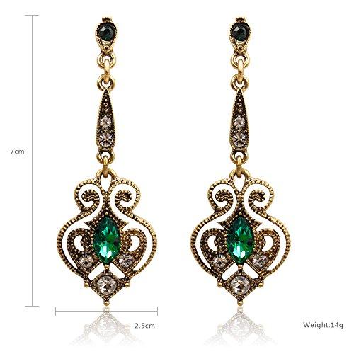 LARESDOMI Vintage Ohrringe goldfarben Kristall Verkrustet Simulierte Grün Turmalin Classic Georgian Drop Ohrringe - 2