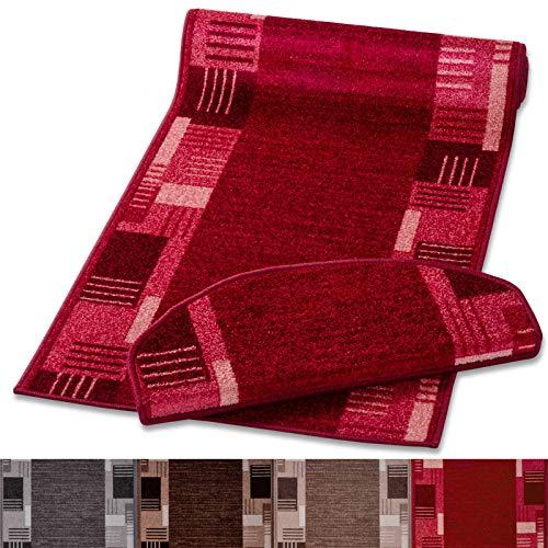 Stufenmatte mit zeitloser Musterung | rot | Qualitätsprodukt aus Deutschland | GUT Siegel | kombinierbar mit Läufer | 65x23,5cm | halbrund | einzeln oder im Set (1 Stück)