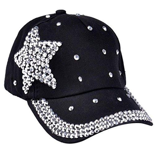 erthome Baby Hut Kappe, Neue Baseballmütze Strass Sternförmige Junge Mädchen Snapback Hut (Schwarz) -