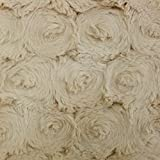 Tela Minky Roses largos pelo Ultra suave blanco crudo–por 50cm