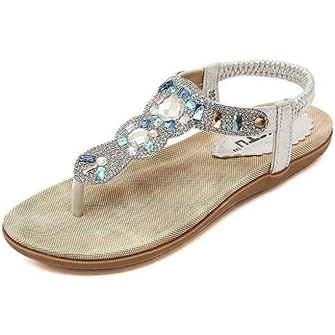 Auspicious beginning Bohemia tondo strass delle donne elastiche T-Cinghia sandali sandali della spiaggia Infradito scarpe piane cinturini