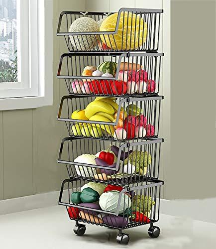 Metall Draht Körbe Trolley, 5-Tier stapelbare Korb Veranstalter Bin Rolling Utility Cart Rack für Gemüse, Obst, Küche Speisekammer - schwarz -