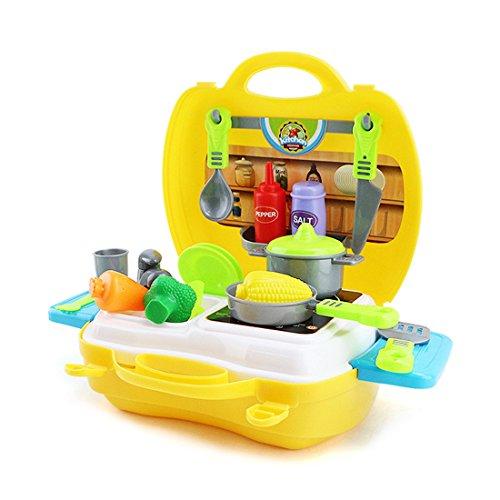 TIME4DEALS Spielzeug Küche Kinderküche Set (23 Stücke Zubehör) Küche Kochen Spielzeug Kleinkinder Rollenspiele Küchenspielzeug für Kinder (Gelb Küchenutensilien)