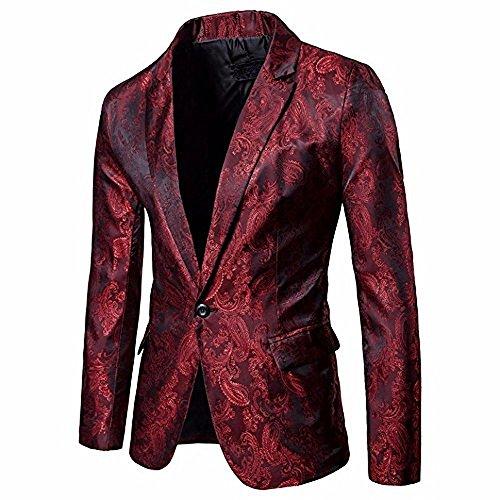 Logobeing Chaqueta de Traje para Hombre, Hombres de Encanto Casual Un Botón Apto Traje Blazer Chaqueta de Abrigo Tops (XXL, Rojo)