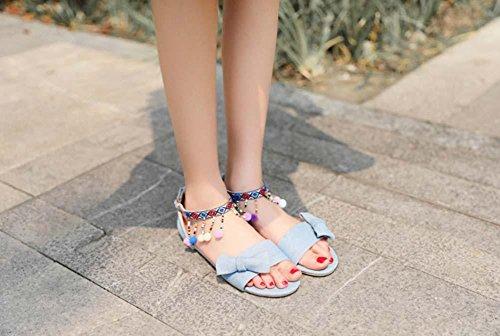 NobS Sandales Tassil style national Chaussures femme Grande taille 40-48 Taille Boucle plate Chaussures décontractées Été Light Blue