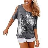 Aoweite Frauen aus der Schulter Kurzarm T-Shirt Rundhals Feder Druck Tops (L, Grau)