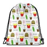 vintage cap Fast Food Munchies_21099 3D Print Drawstring Backpack Rucksack Shoulder Bags Gym Bag for Adult 16.9