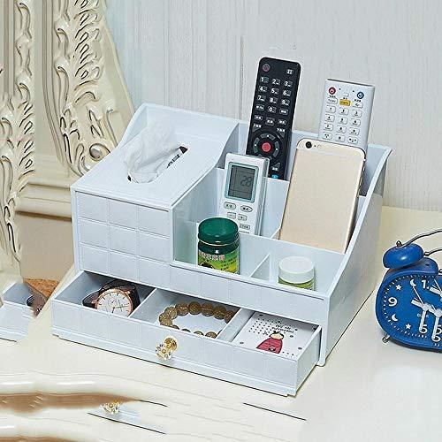 WOYQS Box Multifunktionale ABS Kunststoff Tissue Box Halter, Mit Schubladen Kosmetiktasche, Schreibtisch Veranstalter Karte/Stift/Bleistift/Handy/Fernbedienung Aufbewahrungsbox (Color : A) - Sammlung Bleistift Schublade