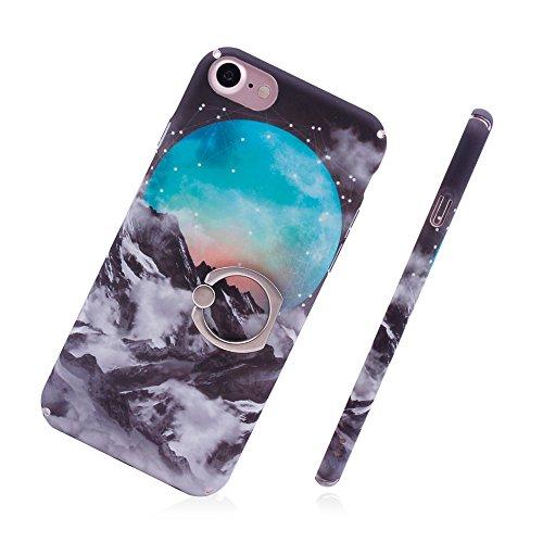 iProtect Hardcase mit Ring Blüten Schutzhülle in Transparent Schwarz mit Fingerhalterung für Apple iPhone 7, iPhone 8 Misty Mountain