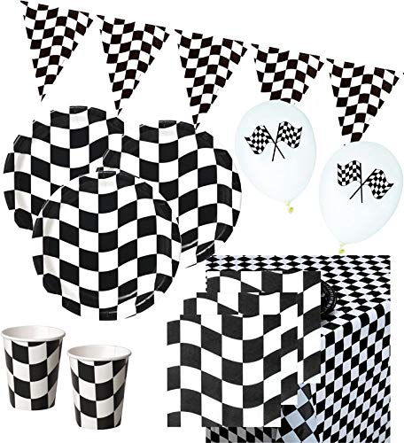2 Teil-formel (42 Teile Schwarz Weiß Formel 1 Party Set für 8 Personen)