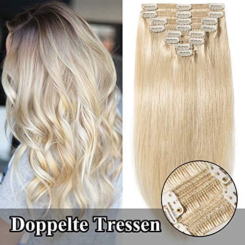 TESS Echthaar Extensions Clip in guenstig Haarverlängerung Doppelt Tressen für komplette Haarextension 8 Teile 18 Clips Glatt 7A Dick Hair (40cm-130g, 60 Weißblond)