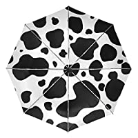 COOSUN Black and White Cow Pattern Automatic 3 Folding Parasol Umbrella