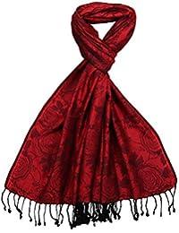 Lovarzi Geblümtes Damenschal - Schöne Doppelseitiger Damentuch in Jacquard Rose Ausführung