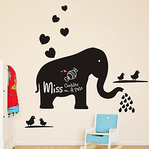 Winhappyhome Cute Elephant Chalkboard Stickers Removable Wall Art Sticker for Kids Bedroom Living Room Office Background Mural Decor Decals