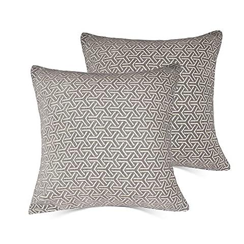 Home Dekorative Kissenbezug 18x 18Baumwolle Velet Überwurf Kissen Fall mit inviseible Zipper 2er Set für Couch, Sofa, Bett, Couch? Möbel–weiß–nur Fall, keine Einsatz  mrniu, baumwolle, Stripes-Grey-2pcs, (Stripe Accent Pillow)