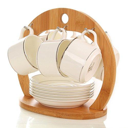 Set en céramique de tasse de café / 6 Set / Single Pack / Set de cadeau / Phnom Penh Silver Set (5 couleurs facultatives) ( couleur : D )
