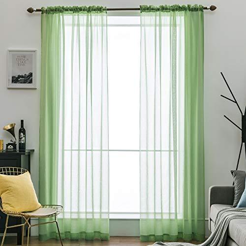 MIULEE 2er Set Sheer Voile Vorhang Stangedurchzug Transparente Gardine aus Polyester Fensterschal Transparent Wohnzimmer Luftig Dekoschal für Schlafzimmer 140 X 225 cm (B x H), Rod Pocket Grün - Grüne Rod Vorhang