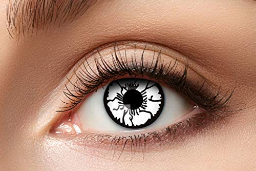 Zoelibat Farbige Kontaktlinsen für 12 Monate, Geist, 2 Stück, BC 8.6 mm / DIA 14.5 mm, Jahreslinsen in Markenqualität für Halloween, Fasching, Karneval, silver/schwarz
