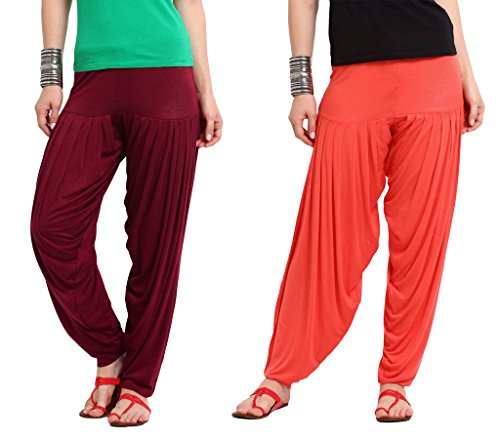 Nikita Women's Maroon and Red Viscose Patiala Pants 2PC Combo