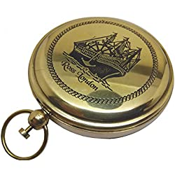 VERY LARGE 2.75-INCH PUSH BUTTON POCKET COMPASS IN CLASSIC SHINING BRASS FINISH, ROSS, LONDON