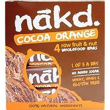 Nakd Barres Chocolat Orange - sans gluten, sans lactose, Crue certifié Paléo, Vegan   4 barres   Nakd