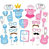 Sungpunet Magic Baby Shower oder Geburtstag Party Foto Booth Rep Set Party Game Crafts Girl Boy Baby Bad Geburtstag Party Gender Offenbarung Foto Booth Requisiten Set Dekoration Party Benefit 30 Stück