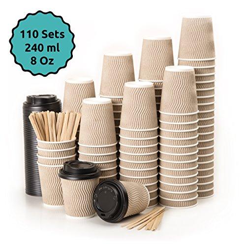 110 Kraft Gewellt Pappebecher Coffee To Go 240 ml 8 Oz mit Deckel und Holz Rührstäbchen Zum Servieren von Kaffee, Tee, heißen und kalten Getränken