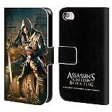 Head Case Designs Offizielle Assassin's Creed Edward Nach Dem Kampf Schwarze Fahne Schluessel Kunst Brieftasche Handyhülle aus Leder für iPhone 4 / iPhone 4S