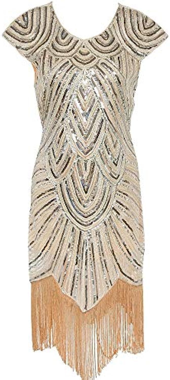 ZHANGZHIYUA Vestito da Sera da Donna Abito con Paillettes Art ... 6d27864b692