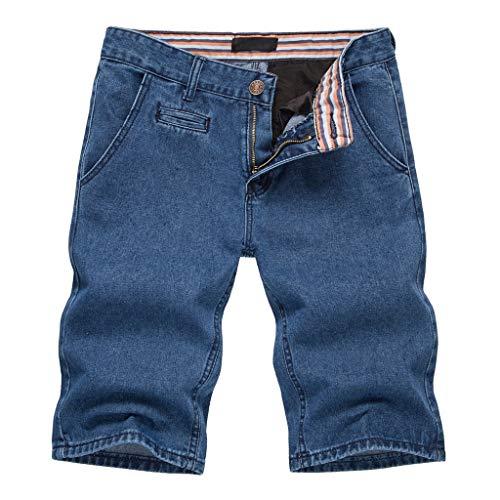 Oliviavan Shorts 2019 Herren Jeans Sommer Baumwolle Hose Rein Farbe Multi-Pocket Overall Mode Pants, Kurze Jeanshose Männer Beach Baggy Atmungsaktiv Cargo Shorts Pocket Mode Jean