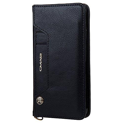 Funda cartera iPhone 7/8 con una solapa para llevar tarjeta de credito y dinero, Negro