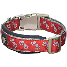 Petface Signature Padded Dog Collar, Small, Red Paws with grey stitching