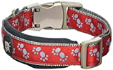 Petface Signature Padded Dog Collar, Medium, Red Paws with grey stitching