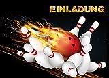 6-er Set Bowling-Einladungskarten (Nr. 10694) zum Kindergeburtstag oder zum Kegel-Abend von EDITION COLIBRI © - umweltfreundlich, da klimaneutral gedruckt
