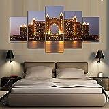 JKdianpu886 (Sin Marco) Imprimir Pintura Abstracta Moderna Decoración para el hogar Lienzo 5 Paneles Hotel Dubai en la Noche L Arte para Sala de Estar Imagen Modular