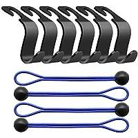 ... ganchos para asiento de coche y 4 piezas de cordones elásticos - Set de colgadores para coche para bolsas de la compra, paraguas, ropa, Handy Picks