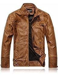 Lavado de moda hombre viejo Reino Unido stand estilo Collar de cuero moto coat CHAQUETA CREMALLERA,Caqui,XL