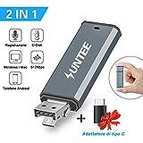 Suntee Mini USB Registratore Digitale Vocale Audio, 520Kbps e 8 GB di Memoria, Doppia porta USB Registratore Vocale Dittafono per Conferenze/Riunioni/Interviste (Include un adattatore di tipo C)