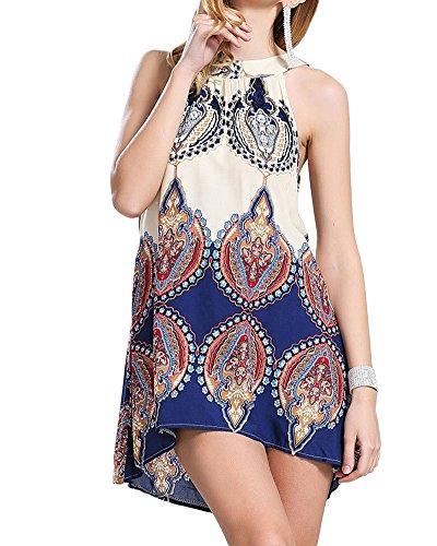 Damen Sommerkleid Strandkleid Oberteile Beiläufig Loses Blumen Gedruckt Ärmellos Modisch Minikleid Frauen Partykleid Abendkleid Blumen Farbe