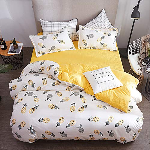 Armee Der Königin Bettdecke (YUNSW Fruit Pineapple Bedruckter Bettbezug Baumwolle Flanell Bettbezug Mit Voller Königin Bettwäsche A 180x220cm)
