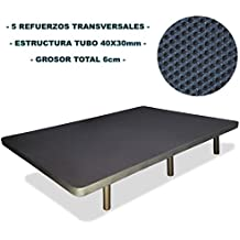 Base tapizada + 6 patas cilíndricas metálicas, 5 REFUERZOS TRANSVERSALES, TUBO 40x30 MM, TEJIDO 3D TRANSPIRABLE, 150x190CM, 6CM GROSOR. Color gris.