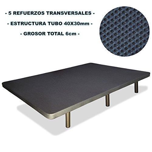 Base-tapizada-6-patas-cilndricas-metlicas-5-REFUERZOS-TRANSVERSALES-TUBO-40x30-MM-TEJIDO-3D-TRANSPIRABLE-135x190CM-6CM-GROSOR-Color-gris