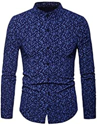 BUSIM Men's Long Sleeved Shirt Autumn Winter Fashion Dress Cashew Flower Print Casual Self Cultivation Stand Collar...