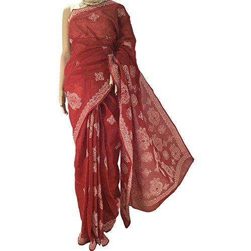 R'ZU Women's Red Cotton Lucknowi Chikankari