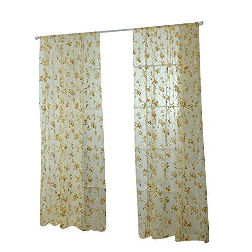 Magideal 200x100cm floral stampa voile tenda del pannello drappo drappeggi per porta finestra casa decorazioni - giallo