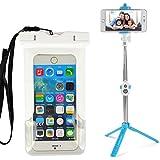Vangoddy Selfie Stick Bluetooth Summer Beach Fun Waterproof Case For Lg V20 / V10 / G5 / G5Plus / G6 With Neck Lanyard (PT_SMSWAP471SLF102_LG)