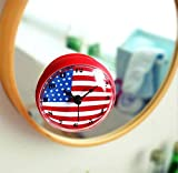 Wanduhr 3D Kreative amerikanische Flagge Bell Badezimmer / Kühlschrank / Küche / Wasserdicht / Sucker Uhr Hausgeräte Hang Uhren , red